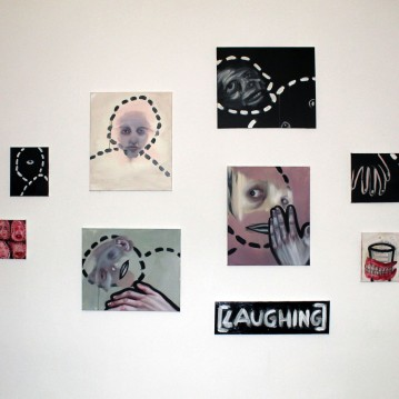 """(Laughing)"" series, oil paint on canvases 300x150 2019"