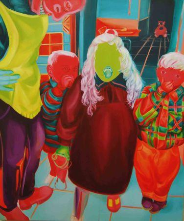 """""""Três desconhecidos e um adulto"""" 170x140 oil paint 2015"""